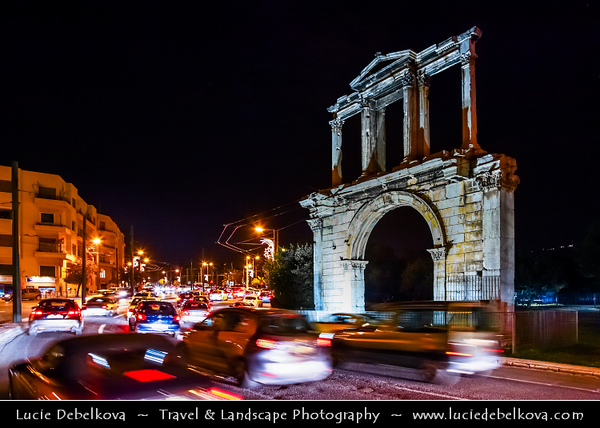 Athens - Αθήνα - Athína - Athine - Capital & largest city of Greece - Arch of Hadrian - Monumental gateway resembling a Roman triumphal arch - Night