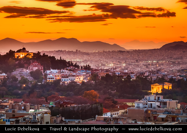 Athens - Αθήνα - Athína - Athine - Capital & largest city of Greece - Dramatic Sunset over Athens Cityscape