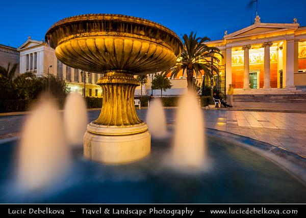 Athens - Αθήνα - Athína - Athine - Capital & largest city of Greece - University of Athens on Panepistimiou Street during Dusk / Twilight / Blue Hour