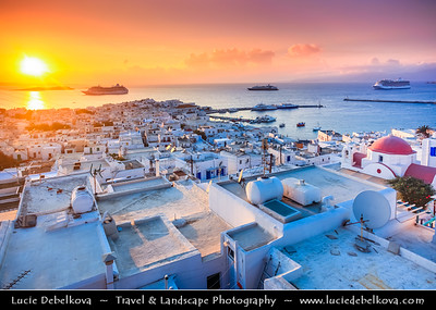 Southern Europe - Greece - South Aegean - Cyclades - Mykonos - Mikonos - Μύκονος - Greek Island in Mediterranean Sea - Chora Harbour from above during wonderful evening sunset