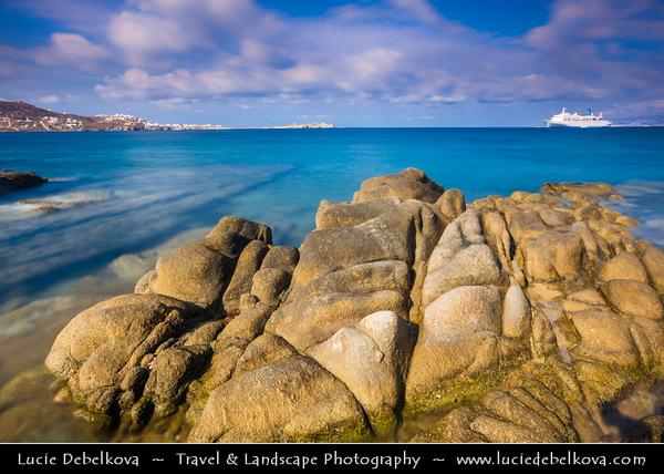 Southern Europe - Greece - South Aegean - Cyclades - Mykonos - Mikonos - Μύκονος - Greek Island in Mediterranean Sea - Chora rocky shore with unsual stone formation