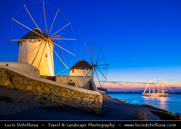 Southern Europe - Greece - South Aegean - Cyclades - Mykonos - Mikonos - Μύκονος - Greek Island in Mediterranean Sea - Chora - Iconic Windmills standing on a hill overlooking the area
