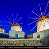 Southern Europe - Greece - South Aegean - Cyclades - Mykonos - Mikonos - Μύκονος - Greek Island in Mediterranean Sea - Chora - Iconic Windmills standing on a hill overlooking area
