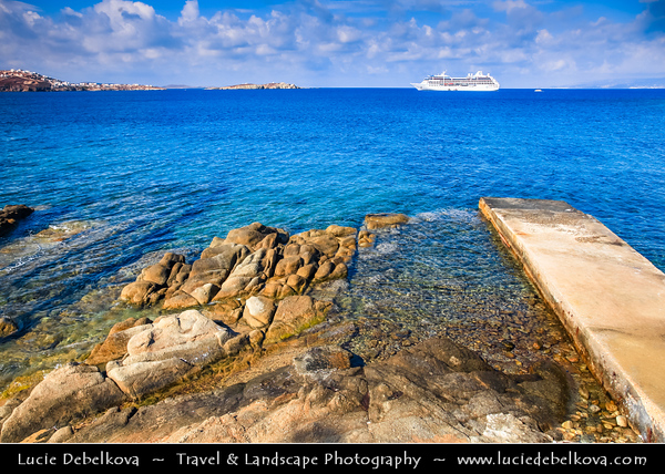 Southern Europe - Greece - South Aegean - Cyclades - Mykonos - Mikonos - Μύκονος - Greek Island in Mediterranean Sea - Chora rocky shore with unsual stone formation