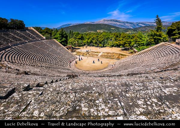 Southern Europe - Greece - Peloponnese peninsula - Epidavros - Epidauros - Ancient city of Epidauros - UNESCO World Heritage Site - Ancient Theatre of Epidaurus - Considered to be most perfect ancient Greek theatre with regard to acoustics & aesthetics