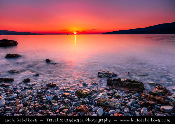 Southern Europe - Greece - Peloponnese peninsula - Loutra Elenis - Charming town beach situated on coast of Saronic Gulf, about 10 km southeast of Corinth - Sunrise
