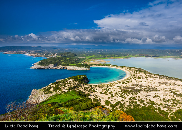 Southern Europe - Greece - Peloponnese peninsula - Voidokilia Beach - Spectacular Mediterranean beach in Messinia in shape of Greek letter omega with its sand forming semicircular strip of dunes - A Place of Particular Natural Beauty - Scenic horseshoe-shaped beach in a nature reserve with clear water