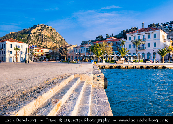 Southern Europe - Greece - Peloponnese peninsula - Nafplio - Náfplion - Navplion - Seaport historical town near north end of Argolic Gulf with Medieval atmosphere - One of most beautiful towns in eastern Peloponnese with formidable Palamidi fortress standing over it