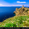Southern Europe - Greece - Cape Melagkavi & Melagkavi Lighthouse - Cape Ireon Light high on headland overlooking eastern Gulf of Corinth