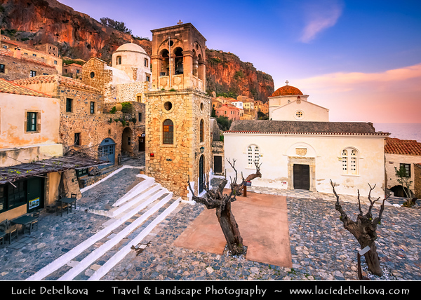 Southern Europe - Greece - Peloponnese peninsula - Monemvasia island - Μονεμβασία - Large impressive plateau 100 metres above sea level with medieval fortress & historical castle town with many Byzantine churches