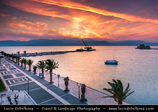 Southern Europe - Greece - Peloponnese peninsula - Nafplio - Náfplion - Navplion - Seaport historical town near north end of Argolic Gulf with Medieval atmosphere - One of most beautiful towns in eastern Peloponnese - Bourtzi Castle - Κάστρο Μπούρτζι - Venetian water castle located in the middle of harbour