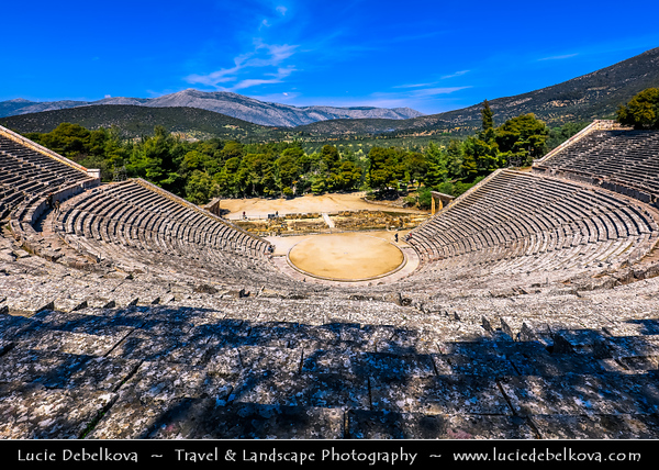 Southern Europe - Greece - Peloponnese peninsula - Epidavros - Epidauros - Ancient city of Epidauros - UNESCO World Heritage Site - Ancient Theatre of Epidaurus - Considered to be most perfect ancient Greek theatre with regard to acoustics & aesthetics