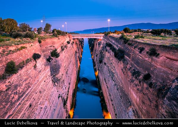 Southern Europe - Greece - Peloponnese peninsula - Corinth Canal connecting Gulf of Corinth with Saronic Gulf in Aegean Sea, cutting through narrow Isthmus of Corinth & separating Peloponnese from Greek mainland