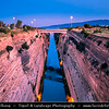 Southern Europe - Greece - Peloponnese peninsula - Corinth Canal connecting Gulf of Corinth with Saronic Gulf in Aegean Sea, cutting through narrow Isthmus of Corinth & separating Peloponnese from Greek mainland