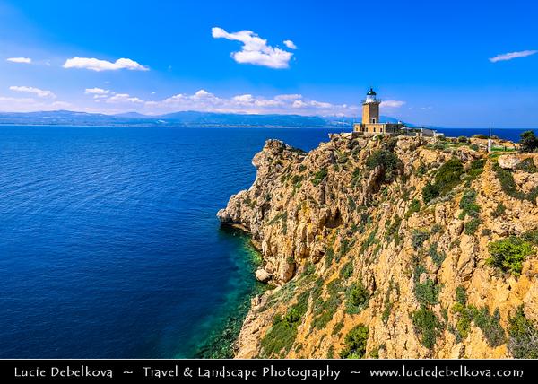 Southern Europe - Greece - Cape Melagkavi & Melagkavi Lighthouse - Cape Ireon Light high on headland overlooking eastern Gulf of Corinth