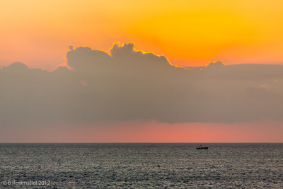 Sunrise en route to Delos and Mykonos, Greece, 2012