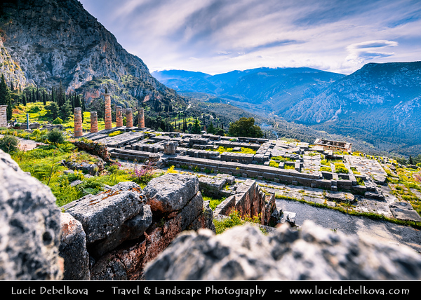 Southern Europe - Greece - Delphi - Pytho - UNESCO World Heritage Site - Iconic Archaeological Site & famous ancient sanctuary on south-western slope of Mount Parnassus overlooking coastal plain to south & valley of Phocis - Cradle of one of most important sanctuaries of Greek antiquity with its most famous oracle