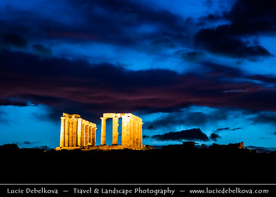 Southern Europe - Greece - Ancient Greek Temple of Poseidon at Cape Sounion - 5th-century BCE temple ruins with Doric-style columns built during 444–440 BC, perched above sea at height of almost 60 metres (200 ft) offering sweeping views of the sea