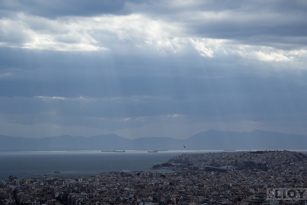 View over Athens to the Saronic Gulf.<br /> <br /> Athens, Greece