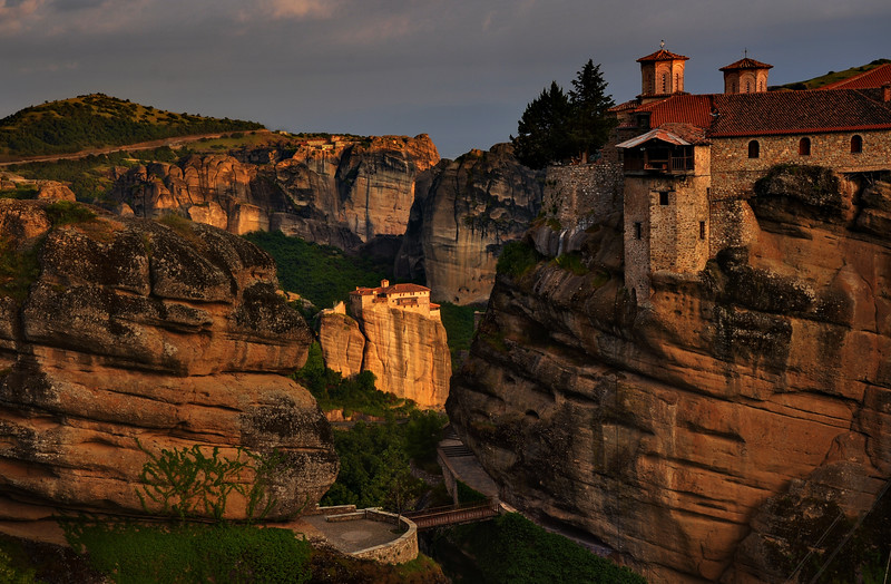 Monasteries at sunset
