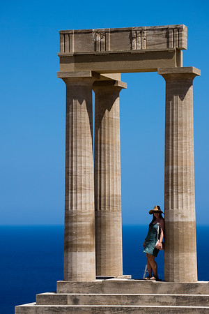 Exploring the village of Lindos on the island of Rhodes, Greece.