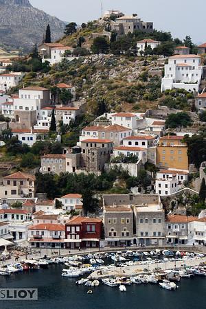 View of Hydra Harbor in the Saronic Gulf.<br /> <br /> Attica, Greece