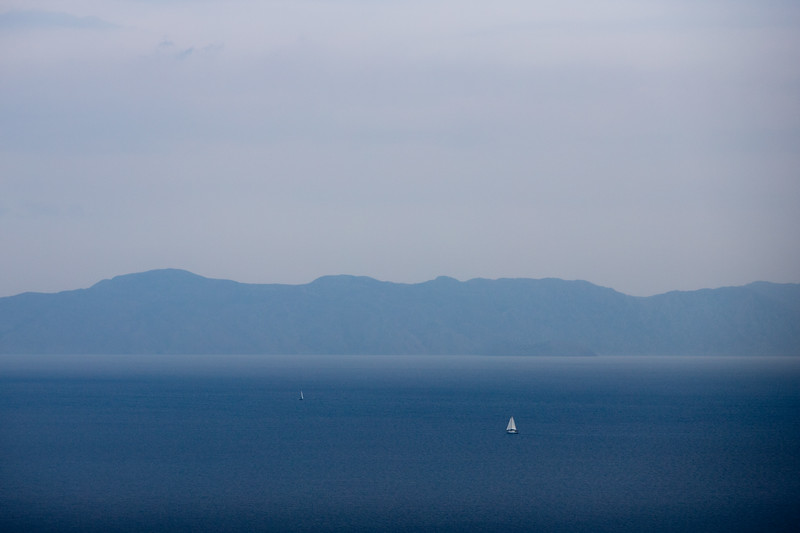 View of the Turkish coastline from the island of Rhodes, Greece.