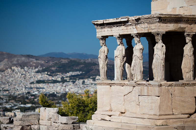 Remnants of Ancient Athens and the Acropolis in Athens, Greece.