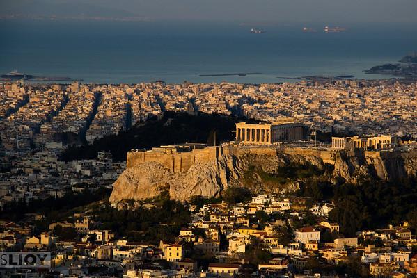Acropolis at sunrise.<br /> <br /> Athens, Greece