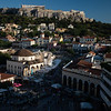 Monastiraki Square with a view of the Acropolis in Athens, Greece.