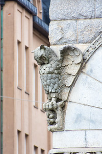 Decorative owls on the Theater building