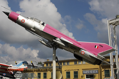"This MIG-21SPS is preserved at the Technik Museum Speyer in the eye-catching c/s of the ""Red Archers"" of the Indian Air Force.The exhibited airframe was actually in service - as 738 - with the Air Force of the former GDR, and later as 22+25 of the Federal Armes Forces."