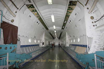 View into the huge cargo hold - with a length of 33 meters and a width of 4,4 meters - of the Antonov An-22.