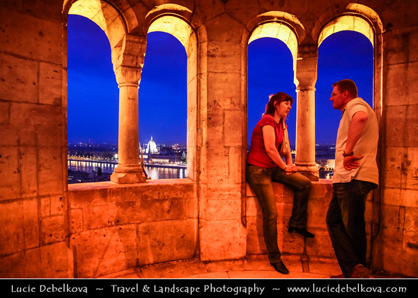 Hungary - Magyarország - Budapest - Capital City - Halászbástya - Fisherman's Bastion - Terrace in neo-Gothic & neo-Romanesque style situated on the Buda bank of the Danube, on the Castle hill in Budapest around Matthias Church - Twilight - Dusk - Blue Hour