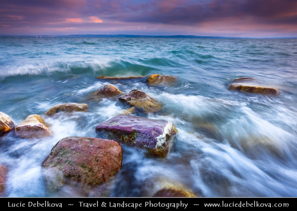 Hungary - Siofok - Lake Balaton - Balcsi - Largest freshwater lake in Central Europe - Beach with Stones during Sunrise