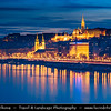 Europe - Hungary - Magyarország - Budapest - Capital City - UNESCO World Heritage Site - Cityscape along Danube river with Buda Castle - Budavári Palota - Burgpalast - Historical castle & palace complex of the Hungarian kings on the southern tip of Castle Hill