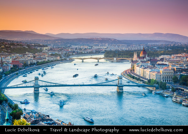 Hungary - Magyarország - Budapest - Capital City - UNESCO World Heritage Site - City View overlooking River Danube between Buda and Pest, the western and eastern sides of Budapest