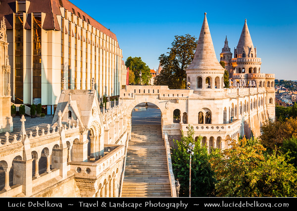 Europe - Hungary - Magyarország - Budapest - Capital City - UNESCO World Heritage Site - Fisherman's Bastion - Halászbástya - Neo-Gothic & neo-Romanesque style terrace situated on Castle hill on Buda bank of Danube river