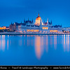 Europe - Hungary - Magyarország - Budapest - Capital City - UNESCO World Heritage Site - Hungarian Parliament Building - Seat of the National Assembly of Hungary on eastern banks of River Danube - Iconic Famous Hungarian Landmark