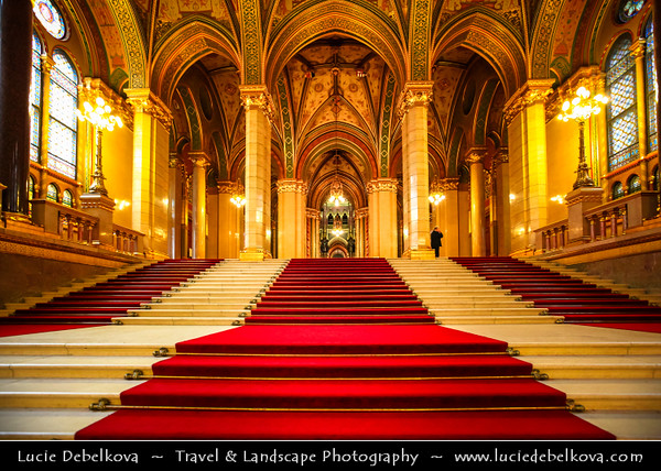 Europe - Hungary - Magyarország - Budapest - Capital City - UNESCO World Heritage Site - Hungarian Parliament Building - Seat of the National Assembly of Hungary on eastern banks of River Danube - Famous Hungarian landmark - Stunning Interior