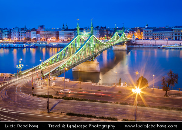 Hungary - Magyarország - Budapest - Capital City - UNESCO World Heritage Site - Szabadság híd - Liberty Bridge connects Buda & Pest across the River Danube - Third southernmost public road bridge in Budapest towards famous Gellért Thermal Baths