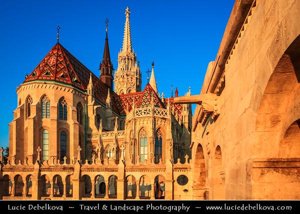Hungary - Magyarország - Budapest - Capital City - UNESCO World Heritage Site - Matthias Church - Mátyás-templom situated on the Buda bank of the Danube, on the Castle hill in Budapest