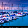 Hungary - Siofok - Lake Balaton - Balcsi - Largest freshwater lake in Central Europe - Boats in Yacht Club during Twilight - Dusk - Blue Hour