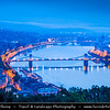Hungary - Magyarország - Budapest - Capital City - City View overlooking River Danube between Buda and Pest, the western and eastern sides of Budapest - Twilight - Dusk - Blue Hour