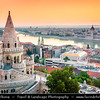Hungary - Magyarország - Budapest - Capital City - UNESCO World Heritage Site - Cityscape from Fisherman's Bastion - Halászbástya - Terrace in neo-Gothic & neo-Romanesque style situated on the Castle hill on the Buda bank of the Danube River around Matthias Church