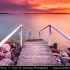 Hungary - Siofok - Lake Balaton - Balcsi - Largest freshwater lake in Central Europe - Steps to the water during Sunset Time