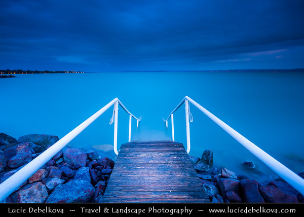 Hungary - Siofok - Lake Balaton - Balcsi - Largest freshwater lake in Central Europe - Steps to the Water during Twilight - Blue Hour - Dusk