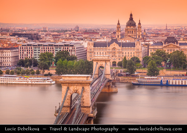 Hungary - Magyarország - Budapest - Capital City - Széchenyi Chain Bridge - Lánchíd - Suspension bridge that spans the River Danube between Buda and Pest, the western and eastern sides of Budapest &  St. Stephen's Basilica - Szent István Bazilika - Roman Catholic Basilica