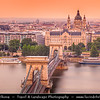 Hungary - Magyarország - Budapest - Capital City - Széchenyi Chain Bridge - Lánchíd - Suspension bridge that spans the River Danube between Buda and Pest, the western and eastern sides of Budapest &  St. Stephen's Basilica - Szent István Bazilika - Roman Catholic Basilica