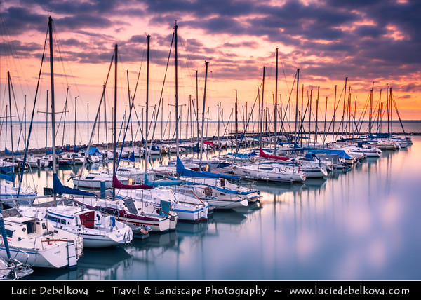 Hungary - Siofok - Lake Balaton - Balcsi - Largest freshwater lake in Central Europe - Boats in Yacht Club during Sunrise Time